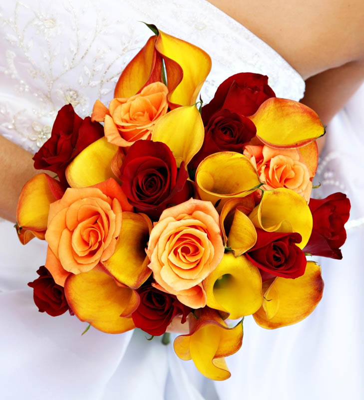 Wedding Flowers Red And Yellow : Red and yellow wedding bouquet imgarcade